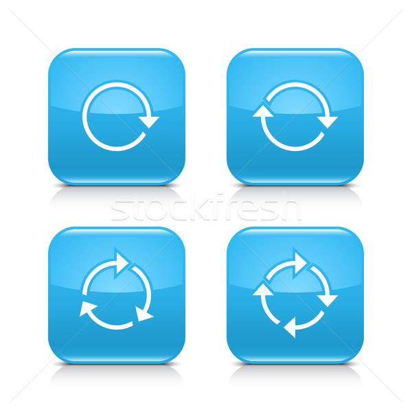 Blue arrow refresh, reload, rotation, repeat icon Stock photo © feelisgood