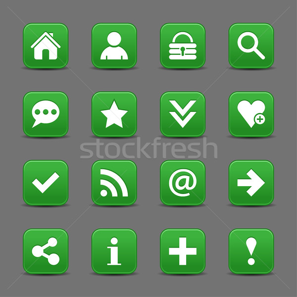 Green satin icon web button with white basic sign Stock photo © feelisgood
