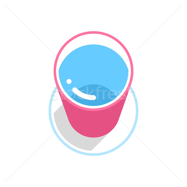 Rózsaszín vödör tiszta víz szürke hosszú árnyék Stock fotó © feelisgood
