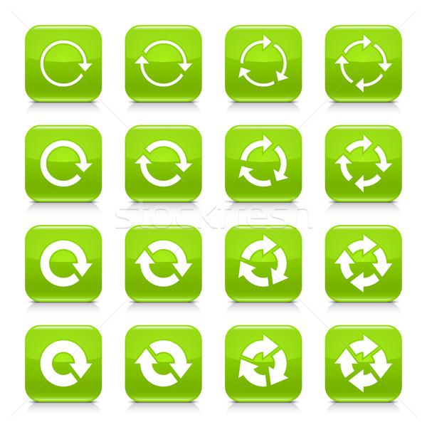 Groene pijl herhalen teken vierkante icon Stockfoto © feelisgood