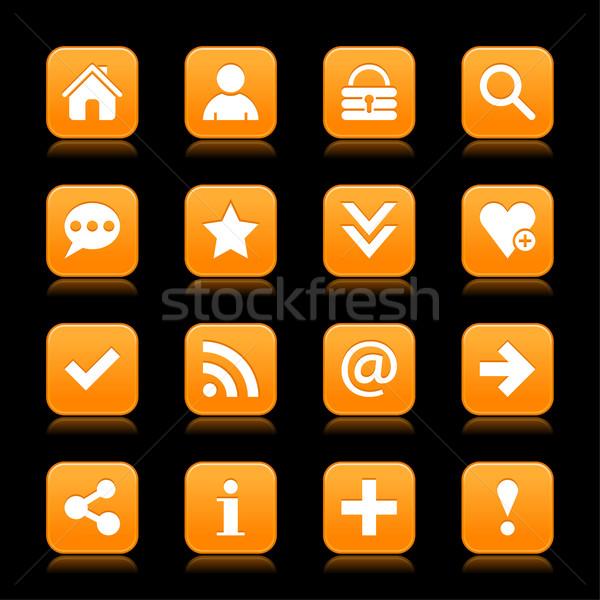 Stockfoto: Oranje · satijn · icon · witte · fundamenteel