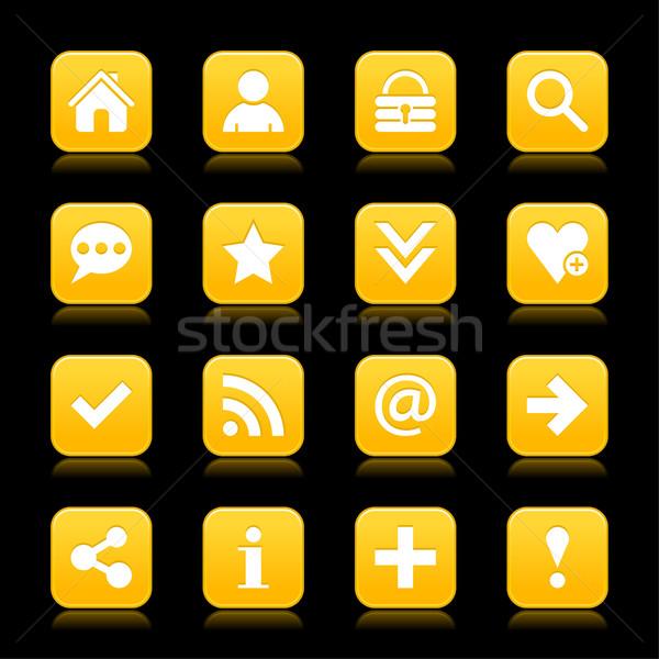 Yellow satin icon web button with white basic sign Stock photo © feelisgood