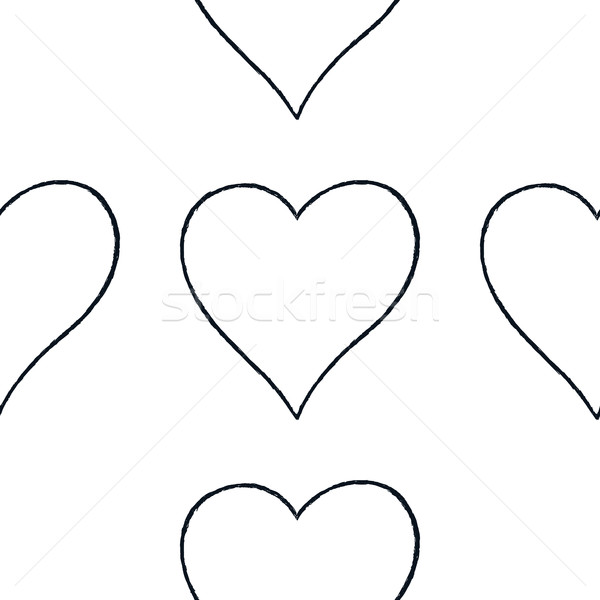 Seamless pattern with outline heart sign Stock photo © feelisgood