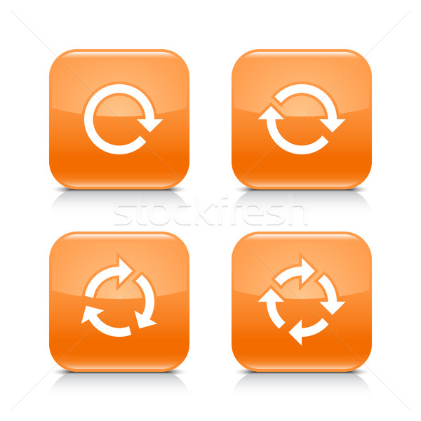 Orange icon refresh reload, rotation, repeat sign Stock photo © feelisgood