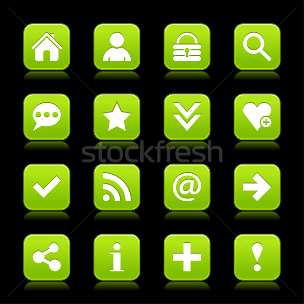 Groene satijn icon witte fundamenteel Stockfoto © feelisgood