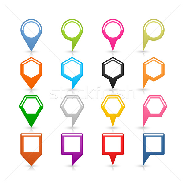 Flat map pin sign location icon on white Stock photo © feelisgood
