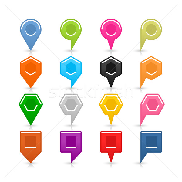 Colorful map pin sign location icon with shadow Stock photo © feelisgood