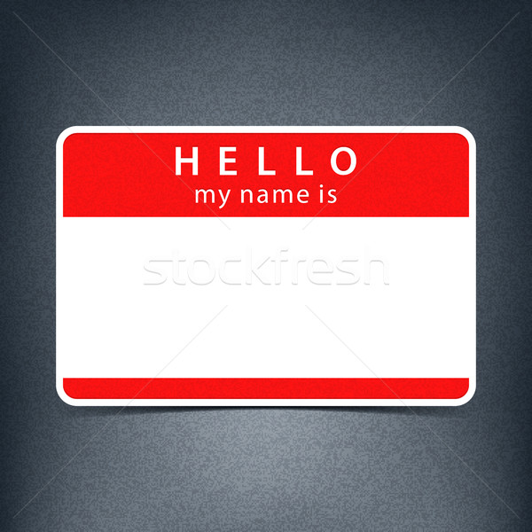 Red name tag blank sticker HELLO Stock photo © feelisgood