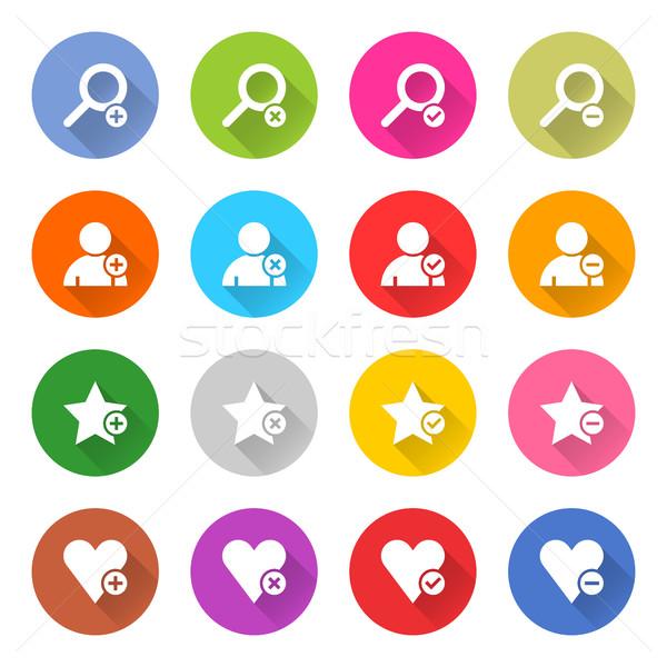 Flat addition icon set web button Stock photo © feelisgood