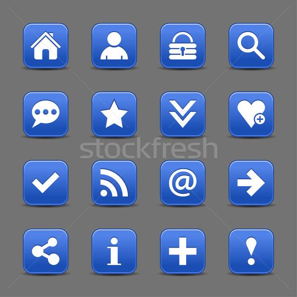 Mavi saten ikon beyaz temel Stok fotoğraf © feelisgood