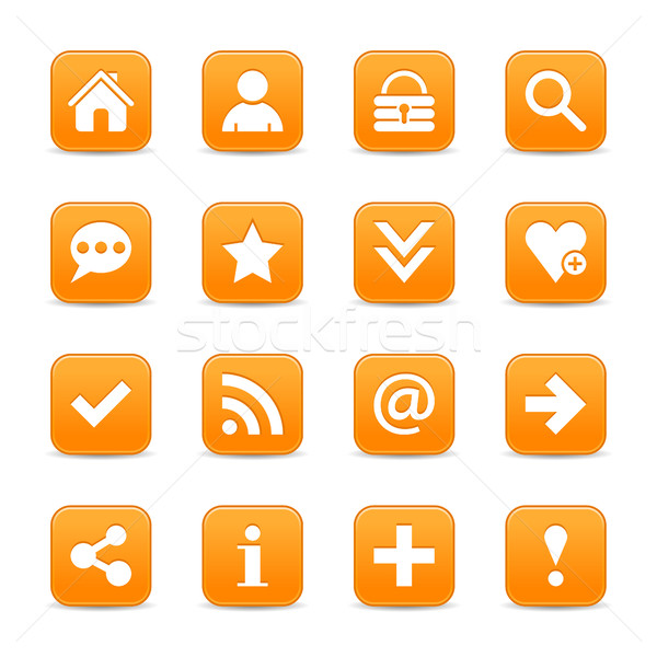 Orange satin icon web button with white basic sign Stock photo © feelisgood