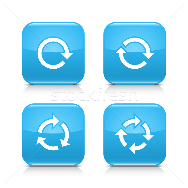Blue arrow refresh, reload, rotation, repeat sign Stock photo © feelisgood
