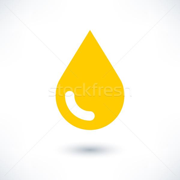 Geel kleur drop icon grijs schaduw Stockfoto © feelisgood