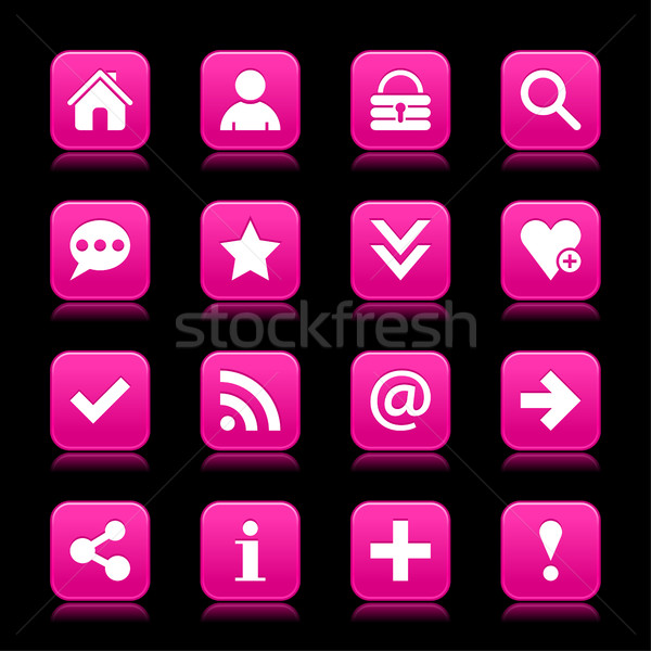 Pink satin icon web button with white basic sign Stock photo © feelisgood