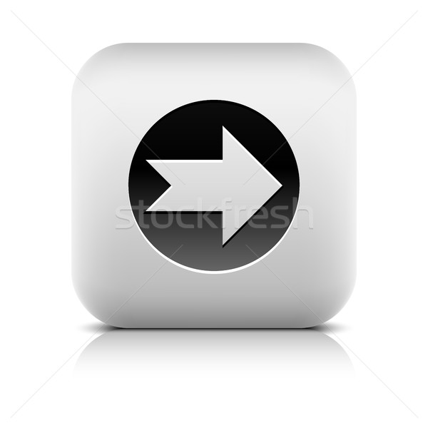 Stok fotoğraf: Ikon · ok · işareti · siyah · daire · kare · düğme