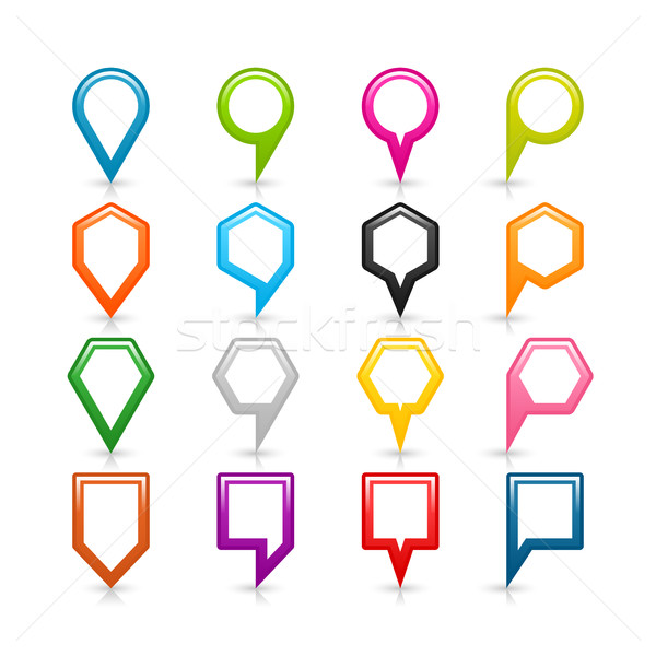 Color map pin sign location icon with shadow Stock photo © feelisgood