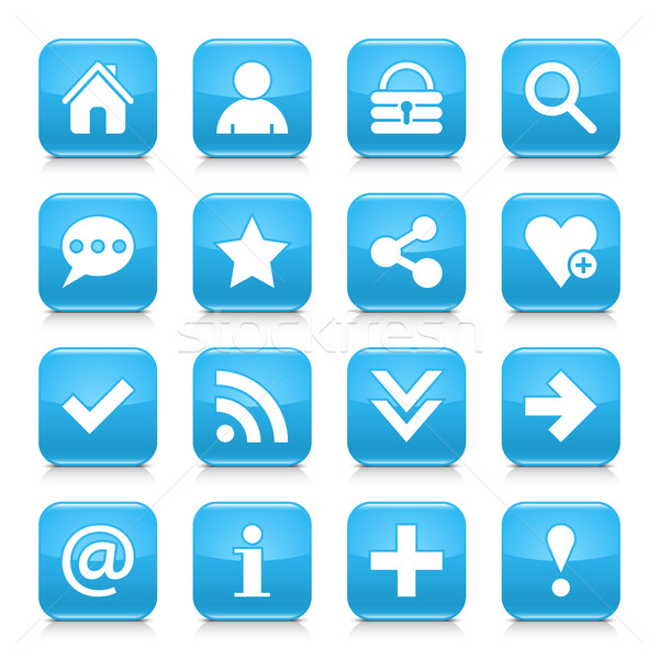 Blue basic sign rounded square icon web button Stock photo © feelisgood