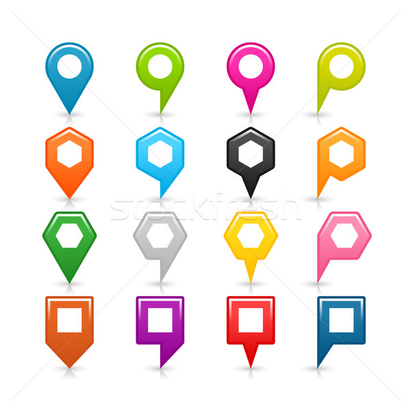 Map pin sign location icon with gray shadow Stock photo © feelisgood