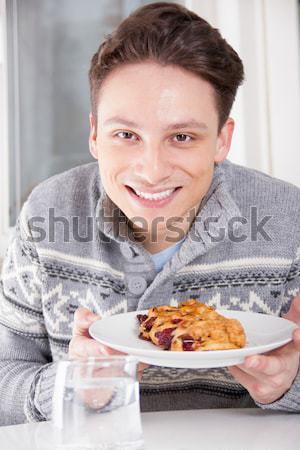 Adam arzu yemek tatlı genç yakışıklı adam Stok fotoğraf © feelphotoart