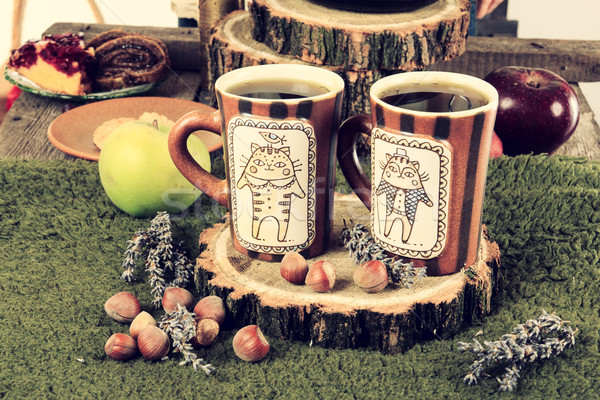 старые ретро кофейные чашки домашний Cookies Сток-фото © feelphotoart