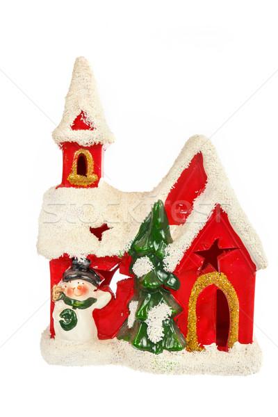 Piros mikulás ház dísz karácsony új év Stock fotó © feelphotoart
