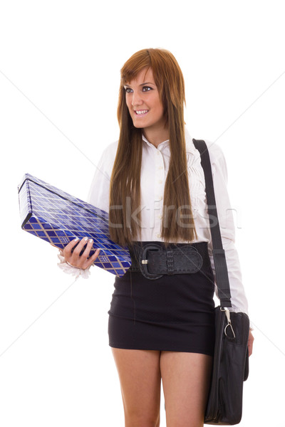 Stock photo: business woman traveling in black skirt holding briefcase and fo