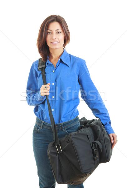 деловой женщины чемодан отпуск фон красоту Сток-фото © feelphotoart