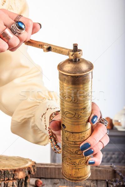 Antik kávé daráló nő kezek arany Stock fotó © feelphotoart
