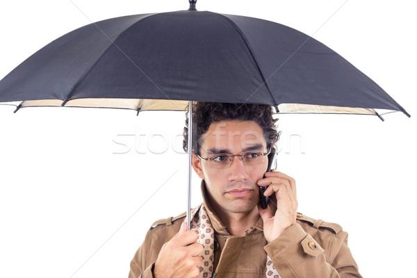 Férfi kabát esernyő telefon felnőtt kéz Stock fotó © feelphotoart
