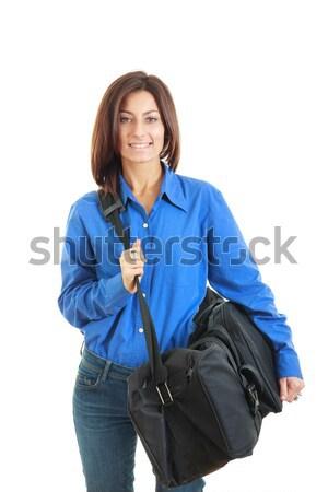 деловой женщины большой путешествия сумку красивая женщина Сток-фото © feelphotoart