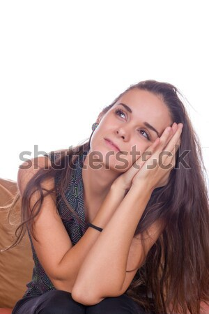 Töprengő álmodik nő kezek arc kéz Stock fotó © feelphotoart