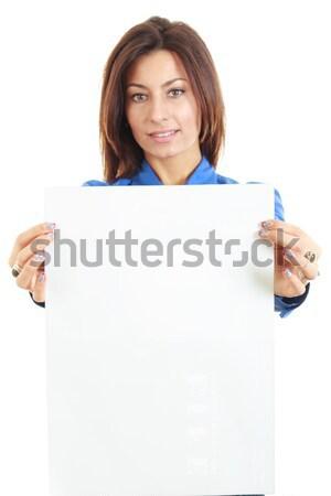 красивая женщина совета баннер улыбаясь Сток-фото © feelphotoart