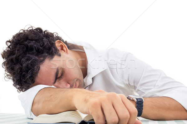 tired man with glasses in white shirt and tie sitting with book Stock photo © feelphotoart