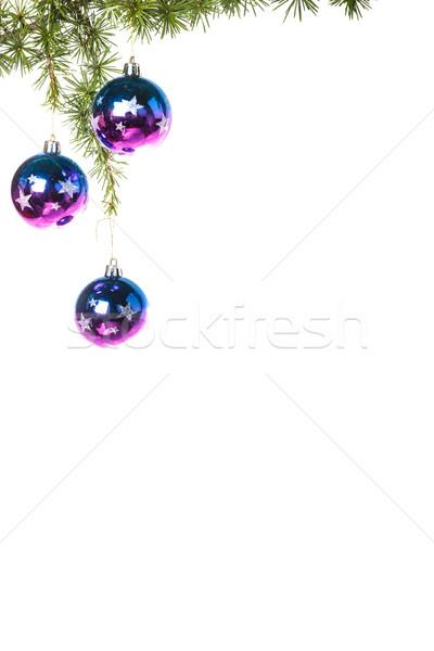 Сток-фото: украшение · соснового · ель · синий · Purple · украшения