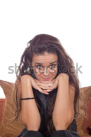 Töprengő lány néz egyenes előre kezek Stock fotó © feelphotoart