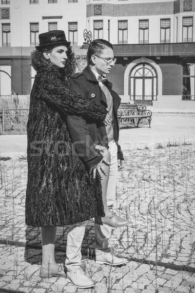 моде пару позируют холодно осень молодые Сток-фото © feelphotoart