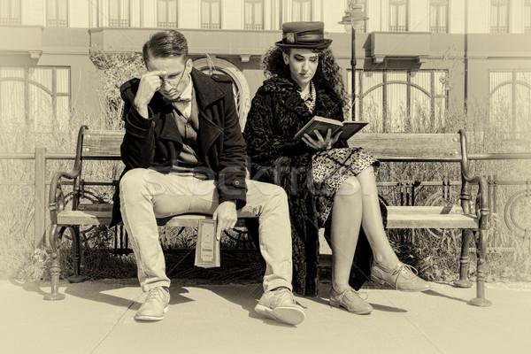 けんか 座って ベンチ 旧市街 小さな ストックフォト © feelphotoart