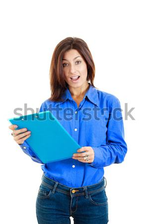 удивленный задумчивый женщину учебник Сток-фото © feelphotoart