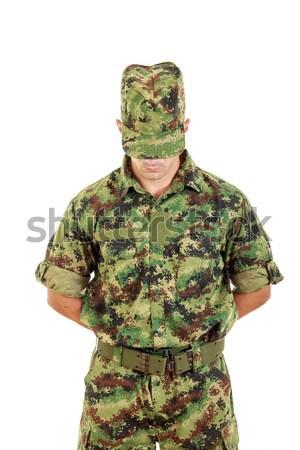 Marine soldier officer praying in military uniform Stock photo © feelphotoart
