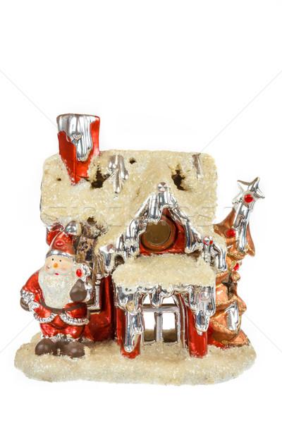 Dekoratív piros mikulás ház dísz karácsony Stock fotó © feelphotoart