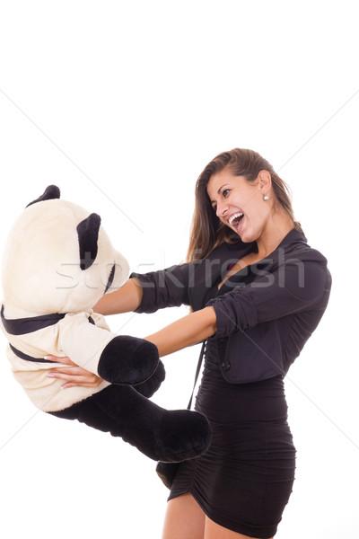 thrilled business woman holding teddy bear Stock photo © feelphotoart