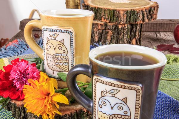 Tea set on old table with flowers in retro style Stock photo © feelphotoart