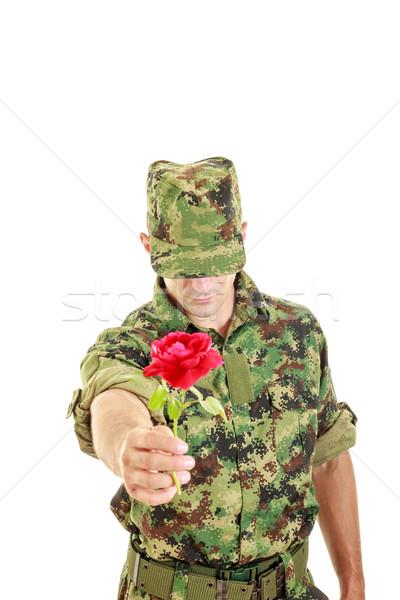 романтические солдата предлагающий красную розу Сток-фото © feelphotoart