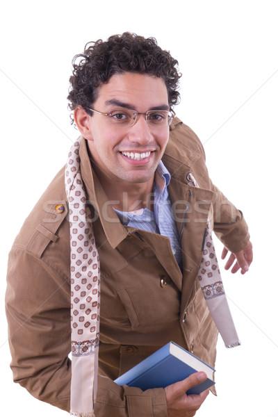 Férfi kabát tart könyv barna sál Stock fotó © feelphotoart