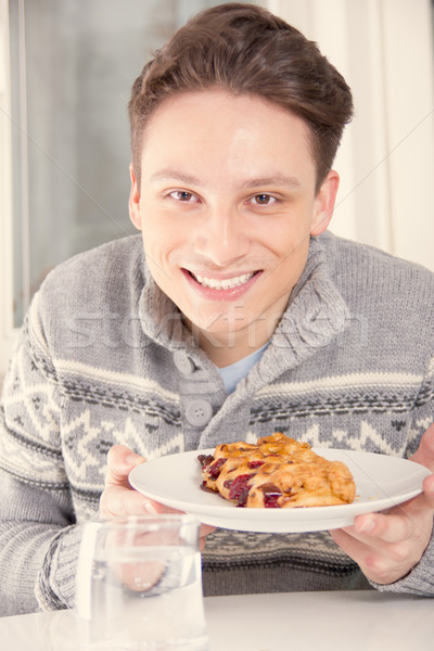 человека десерта пластина молодые улыбаясь Сток-фото © feelphotoart