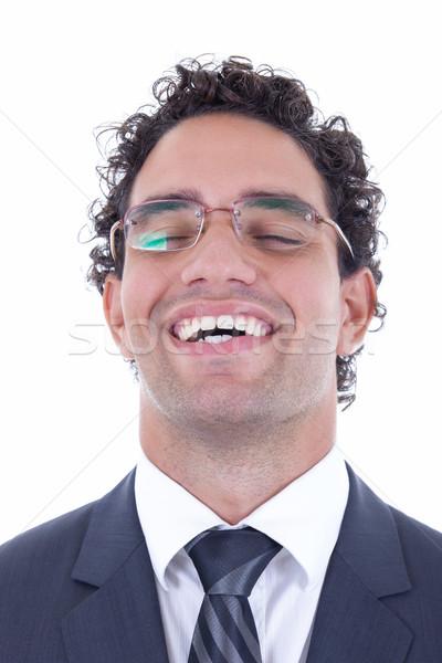 Stressz fiatal üzletember szemüveg boldog egyedül Stock fotó © feelphotoart