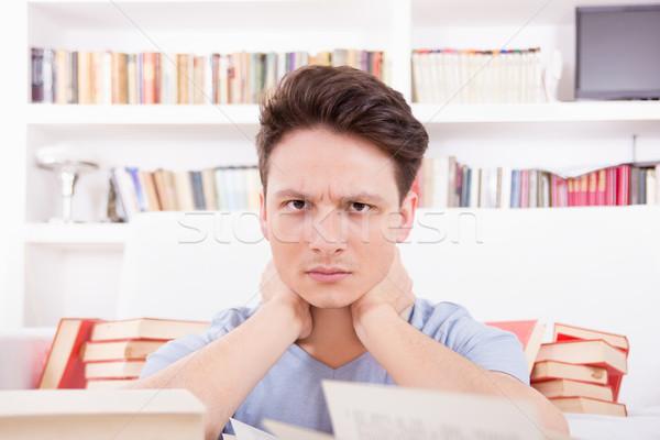 Fáradt diák könyvek kimerült kéz könyv Stock fotó © feelphotoart