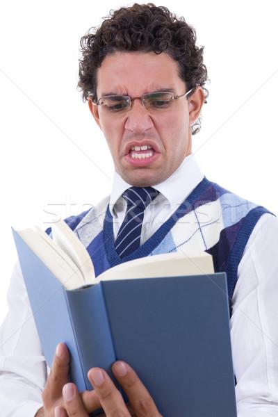 Stock fotó: Férfi · könyv · felnőtt · szemüveg · üzlet · papír