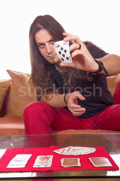 человека палуба карт таблице карт Сток-фото © feelphotoart