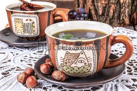 Klasszikus asztal szett csészék tea sütik Stock fotó © feelphotoart